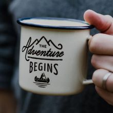 The Adventure Begins Camping Mug